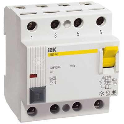 Выключатель дифференциального тока (УЗО) 4п 25А 30мА тип AC ВД1-63 ИЭК MDV10-4-025-030