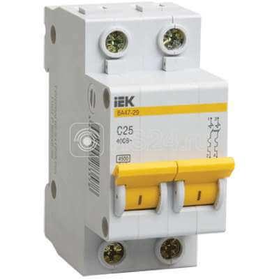 Выключатель автоматический модульный 2п C 63А 4.5кА ВА47-29 ИЭК MVA20-2-063-C
