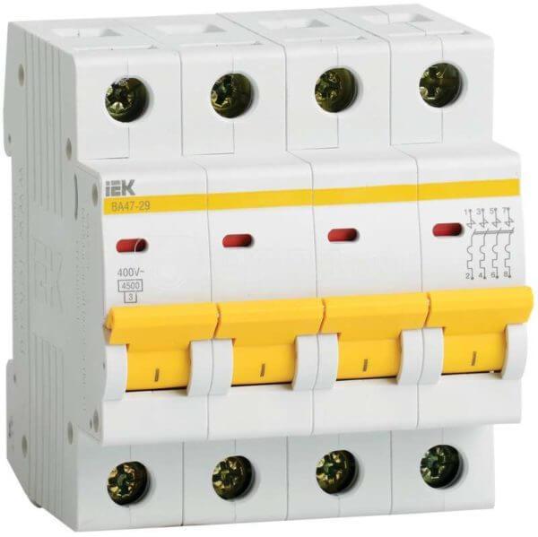 Выключатель автоматический модульный 4п C 32А 4.5кА ВА47-29 ИЭК MVA20-4-032-C