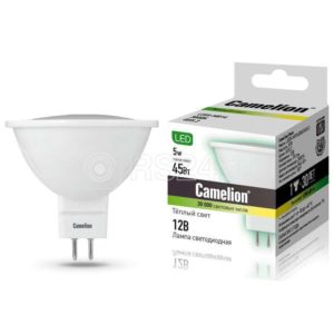 Лампа светодиодная LED5-MR16/830/GU5.3 5Вт 3000К тепл. бел. GU5.3 370лм 12В Camelion 12025