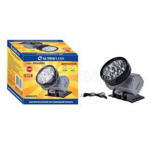 Фонарь налобный аккумуляторный LED 5371 (220В LED10 2 режима; серебр.) Ultraflash 12350