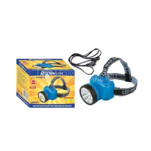 Фонарь налобный аккумуляторный LED 5361 (220В 12LED 2 режима; голуб.) Ultraflash 12420