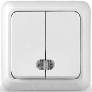 Выключатель 2-кл. ОП Олимп 10А IP20 с индик.бел. Universal О0123