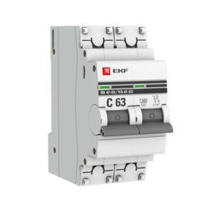Выключатель автоматический модульный 2п C 10А 4.5кА ВА 47-63 PROxima EKF mcb4763-2-10C-pro