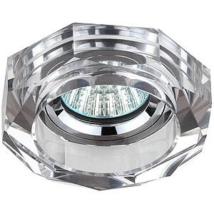 Эра светильник декоративный, стекло, многогранник MR16 хром/зеркальный