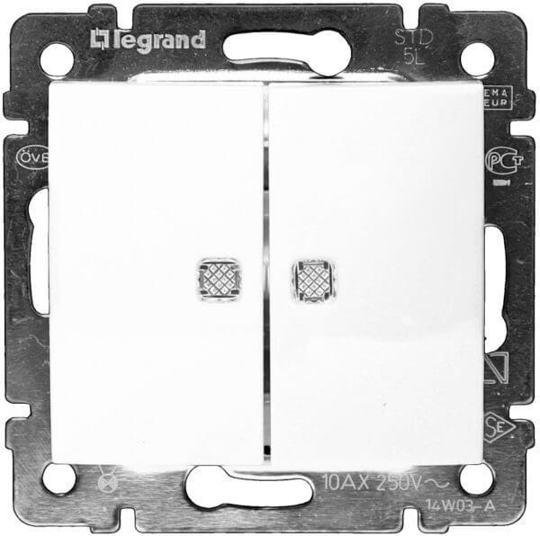 Legrand Valena Выключатель 2кл. с подсв. белый