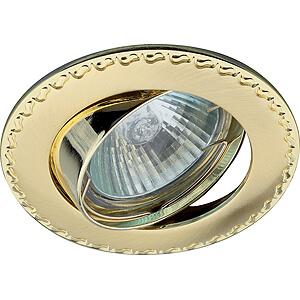 Эра светильник литой, поворотный, контур с рисунком MR16 сатин золото/золото