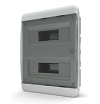 Tekfor бокс встраиваемый 24 мод. IP41, прозрачная черная дверца