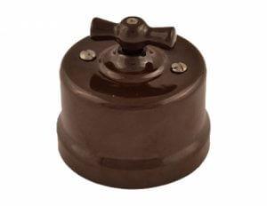 Bironi выключатель 1кл проходной, пластик, коричневый