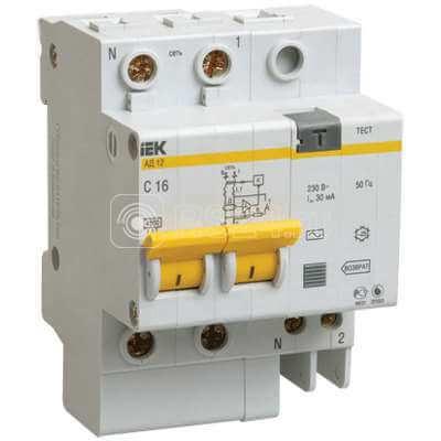 Выключатель автоматический дифференциального тока 2п C 10А 30мА тип AC 4.5кА АД-12 ИЭК MAD10-2-010-C-030