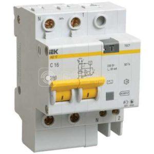 Выключатель автоматический дифференциального тока 2п C 63А 30мА тип AC 4.5кА АД-12 ИЭК MAD10-2-063-C-030