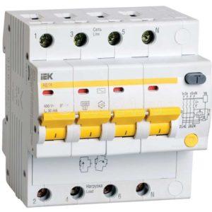 Выключатель автоматический дифференциального тока 4п C 16А 30мА тип AC 4.5кА АД-14 ИЭК MAD10-4-016-C-030