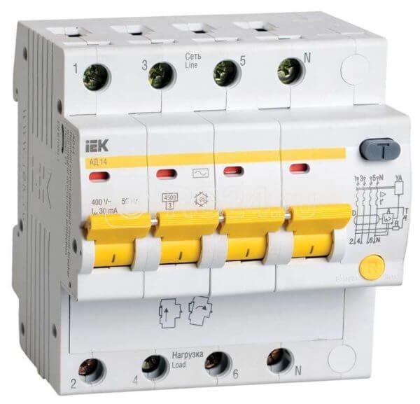 Выключатель автоматический дифференциального тока 4п C 25А 30мА тип AC 4.5кА АД-14 ИЭК MAD10-4-025-C-030
