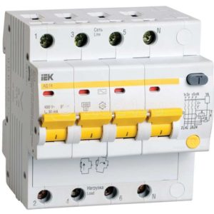 Выключатель автоматический дифференциального тока 4п C 32А 30мА тип AC 4.5кА АД-14 ИЭК MAD10-4-032-C-030