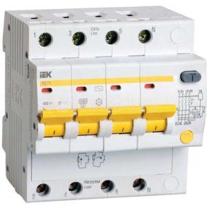 Выключатель автоматический дифференциального тока 4п C 63А 30мА тип AC 4.5кА АД-14 ИЭК MAD10-4-063-C-030