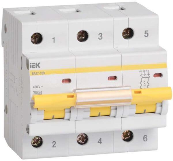 Выключатель автоматический модульный 3п C 80А 10кА ВА47-100 ИЭК MVA40-3-080-C