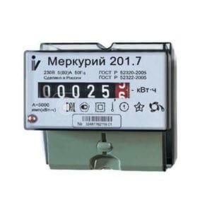 "Счетчик ""Меркурий"" 201.7 1ф 5-60А 1 класс точн. 1 тариф. мех. табло DIN-рейка Инкотекс 32680"