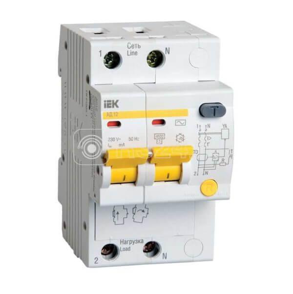Выключатель автоматический дифференциального тока 2п C 50А 30мА тип AC 4.5кА АД-12 ИЭК MAD10-2-050-C-030