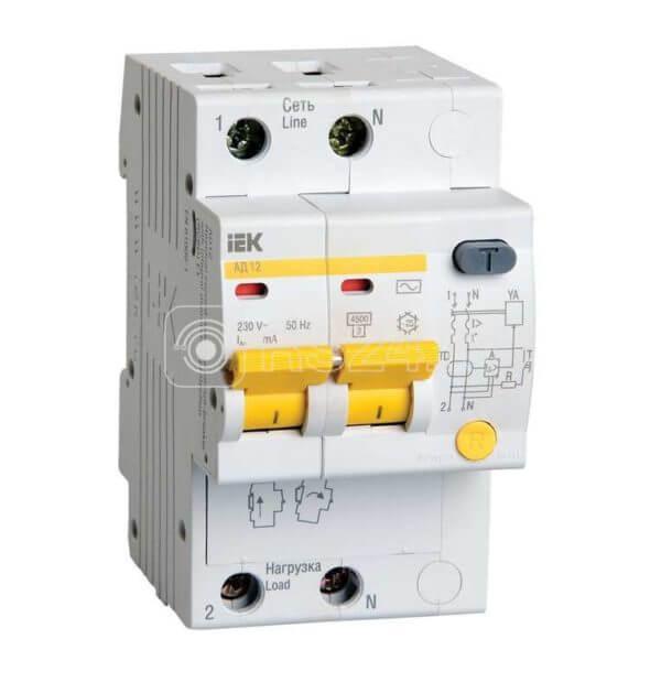 Выключатель автоматический дифференциального тока 2п C 20А 30мА тип AC 4.5кА АД-12 ИЭК MAD10-2-020-C-030