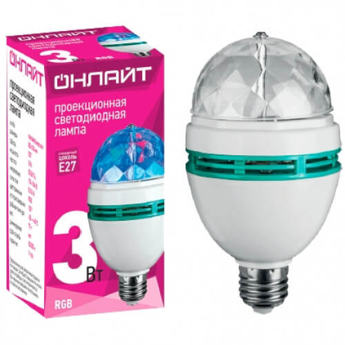 Лампа светодиодная ОНЛАЙТ OLL-DISCO-3-230-RGB-Е27