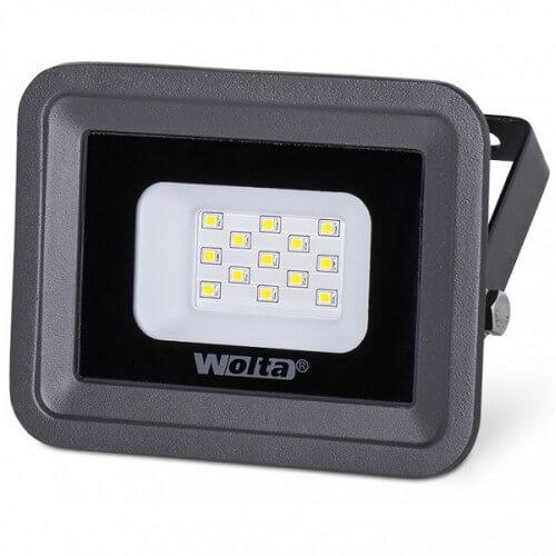 Светодиодный прожектор WFL-10W/06. 5500K. 10W SMD. IP65. цвет серый. слим WOLTA